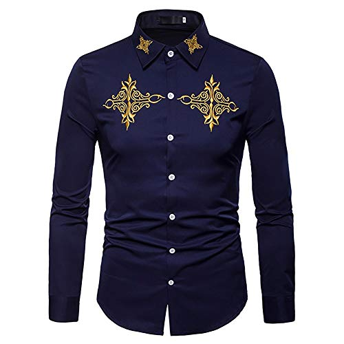 Hombres Camisa De Algodón Bordada De Manga Larga Casual Vintage Slim Fit Western Cowboy Camisa De Vestir Top (Color : 2, Size : S)