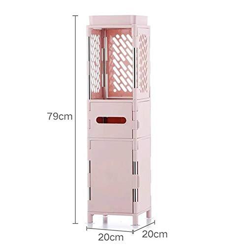 Aufbewahrungswagen 20 cm Breite Küche Bad Regal Boden Typ Mehrschichtige Sperre Lagerschrank,Pink,D
