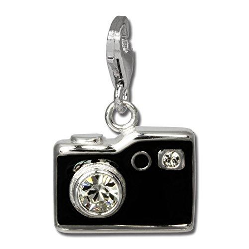 SilberDream Charm Fotoapparat schwarz mit Zirkonias 925 Sterling Silber Charms Anhänger für Armband Kette Ohrring FC819S