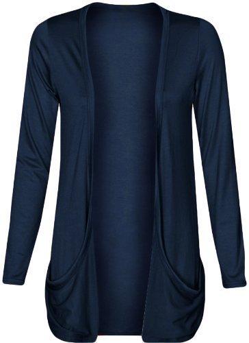 Pocket-front Offen Strickjacke (Damen Strickjacke, offen, lockere Taschen, große Größen, Gr. 46-56 Gr. XXL, navy)
