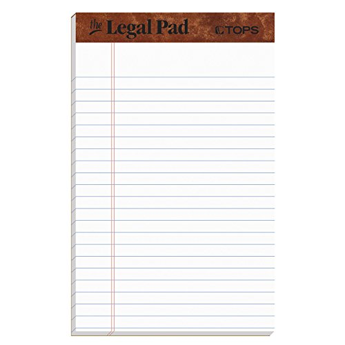 Legal Pads (Tops Legal Pads, weiß, 12/Pack Für jeden Tag 5 x 8 Inch weiß)