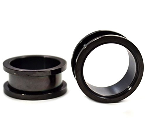 Schwarz Titan anodized über 316L chirurgischer Stahl Screw On Plugs/Tunnels nickelfrei (1Paar) verschiedenen Größen erhältlich