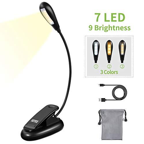 Preisvergleich Produktbild SKYEE Leselampe Buch Klemme,  Buchlampe Aufladbar 7 LED Klemmleuchte mit 9 Helligkeitsstufen 3 Lichtfarben (Warmes,  Weißes & Warmweißes),  USB-Ladekabel,  für Buch,  Bett,  Laptop,  Computer