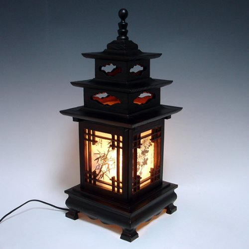 carved-wood-lamp-shade-with-three-story-pagoda-design-handmade-art-deco-lantern-brown-asian-oriental