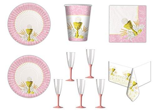 Koordinierte Kommunion Classic Pink-Ereignisse Dekorationen Tisch Party–Kit N ° 22cdc- (10Teller, 10Becher, 20Servietten, 1Tischdecke, 20Flute)
