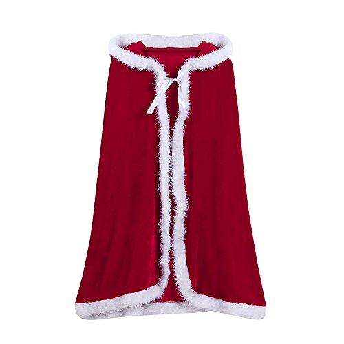 (OVERDOSE Baby Kinder Weihnachtskostüm Santa Kapuzen Cosplay Cape Robe Cosplay Kostüme für Jungen Mädchen(Freie Größe,A-Rot))