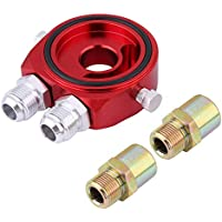 Kit de enfriador de aceite, M20 x 1.5 Adaptador universal de placa de emparedado de enfriador de filtro de aceite de aleación de aluminio 1/8 NPT Kit de enfriador de aceite(rojo)