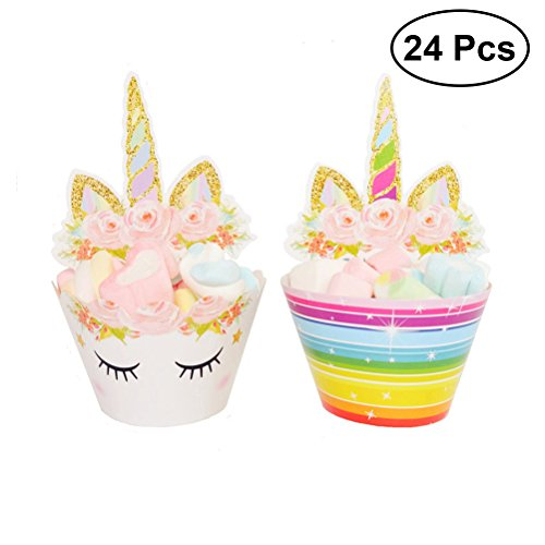 TOYMYTOY 24Pcs Unicorn Cupcake Toppers and Wrappers Set Unicorn Horn Eyelashes Rainbow Glitter Wrappers for Birthday Wedding Baby Shower Party Decorations