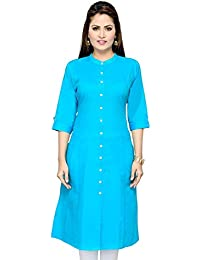 Pistaa Women's Solid Cotton Turquoise Blue Kurta With Fold Up Sleeves