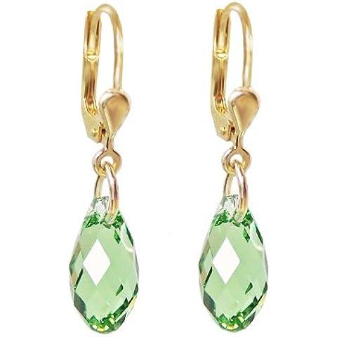 Placcato oro Orecchini con SWAROVSKI ELEMENTS cristallo Briolette con olivina, Verde, Oro-fondo orecchini - Swarovski Cristallo Briolette Orecchini