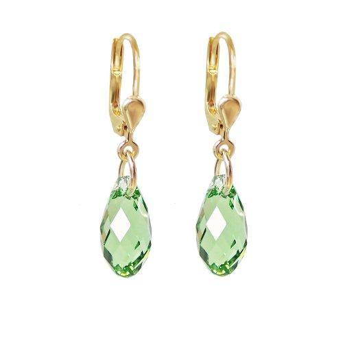 Schöner-SD, hochwertig vergoldete Ohrringe mit kleinen Kristallen von Swarovski 13mm Farbe Peridot, grün