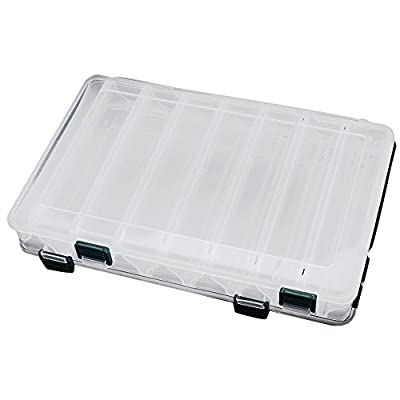SODIAL(R)27*18*4.7CM Double Sided High Strength Transparent Visible Plastic Fishing Lure Box 14 Compartments with Drain Hole Fishing Tackle by SODIAL
