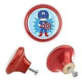 Möbelknopf Keramik 06181R Kinder Superhelden Superheroes Antik Porzellan Shabby Chic Möbelknöpfe Griffe Knäufe für Schrank Schublade Kommode Kinderzimmer