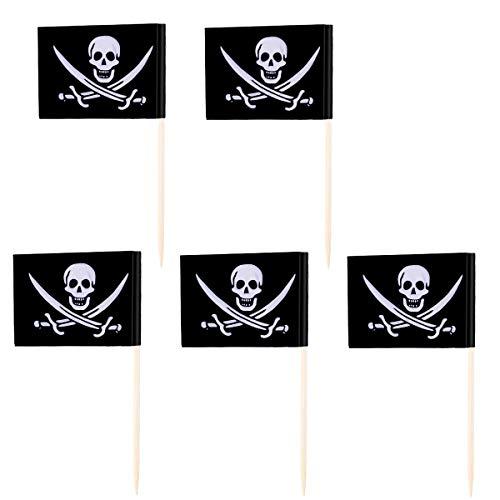 VOSAREA 100 stücke Piratenflagge Cupcake Topper Holz Zahnstocher Kuchen Topper Picks für Kinder Geburtstag Piraten Party Kuchen Dekoration Lieferungen