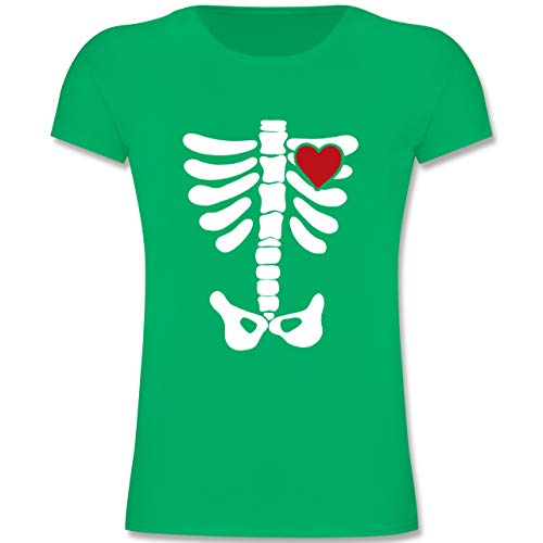 Kostüm Skelett Grün - Halloween Kind - Skelett Herz Halloween Kostüm - 104 (3-4 Jahre) - Grün - F131K - Mädchen Kinder T-Shirt