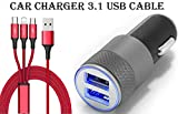 Lakshika Fast Car Charger for Nokia X7 Car Charger Dual Port USB High Speed Rapid Fast Turbo Metal Android Car Mobile Charger with 3 in 1 android type-c and ios USB Data Cable | Smart Charging with Quick Charge (3.1 Amp, Random)