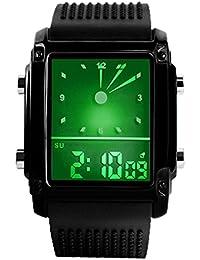 Deportivos Relojes de Hombre Mujer Analógico Digitales Electrónica 50M  Resistente Agua Multifuncional Rectangular Acero Inoxidable Relojes bf5e7542f5a