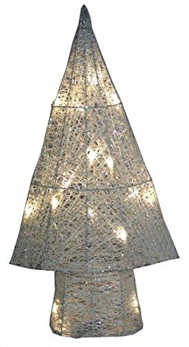 Weißer Metall Tannenbaum mit Glitter 15 LED Deko Baum für Batteriebetrieb 50 cm