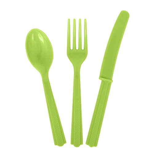 Unique Party Assorted 18 Piece Neon Green Plastic Cutlery Set for 6