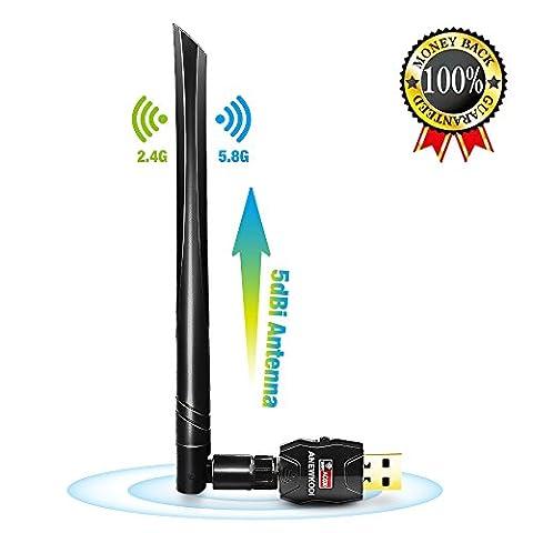 ANEWKODI Wireless Adapter 5dBi USB WiFi Adapter 600Mbps 802.11ac Dual Band 2.4G/5G Wireless Network WiFi Adapter Wi-Fi Dongle Adapter WiFi Antenna Support Windows XP,Win Vista,Win 7,Win 8.1, Win 10,Mac OS X