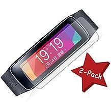 [Pack de 2] Protector de Pantalla Transparente para Samsung Galaxy Gear FIT (PET) Diseño Curvo (Cubre Completamente la Pantalla, Incluido Bordes laterales) Fabricado en PET de Ata Calidad Con Un Grosor de 0,12mm. Kit de Instalación Incluido (Instrucciones en Español También)