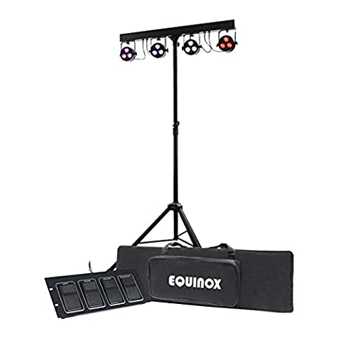 Quad Lighting System with 4 x RGBW LED Lights, Foot Controller, Stand & Bag
