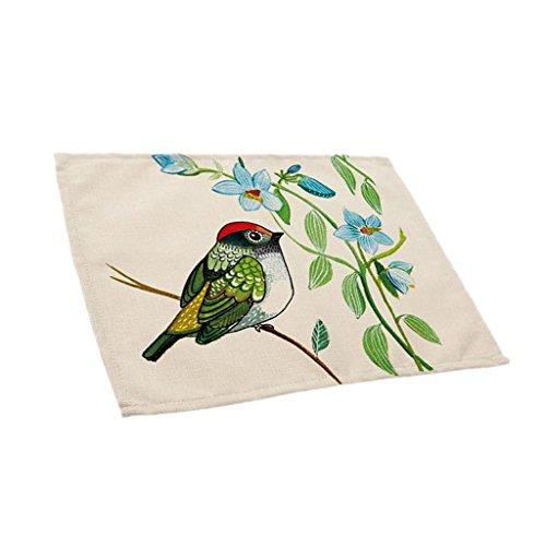 MagiDeal Set de Table en Lin Coton Napperon Motif Oiseau Coloré Décoration pour Cuisine Salle à Manger - 7
