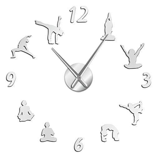 DJDLNK Yoga Relojes De Pared Grandes Efecto De Espejo Sala De Estar DIY Reloj De Pared Meditación Zen...