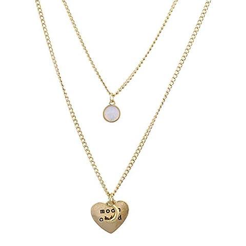Lux Accessoires véritable aux nuances dorées Boho croissant Lune Enfant Blanc opale–Collier