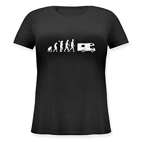 Evolution - Evolution Camper White - Lockeres Damen-Shirt in Großen Größen mit Rundhalsausschnitt Schwarz
