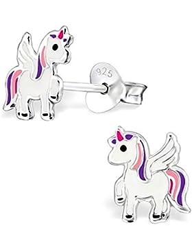 GH* Alicorn Einhorn Ohrstecker 925 Echt Silber Pferd Kinder Mädchen Ohrringe Pegasus ch101OJ