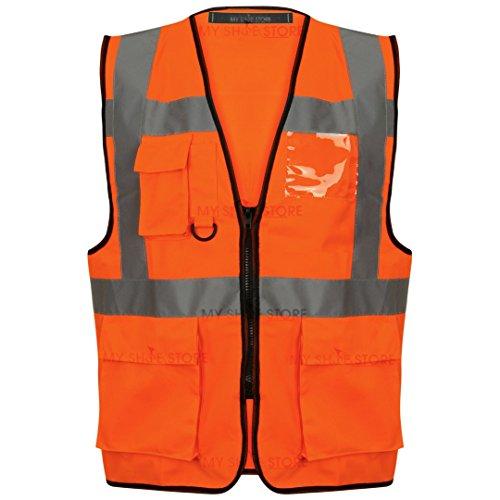 Executive Hi Viz Vis Weste Hohe Sichtbarkeit Reißverschluss Westen 2Band Reflektierende Sicherheit Contractor Sicherheit Tasche für Handys ID Holder Workwear Weste Jacke Top Gr. S-5X L, gelb Orange / HV330