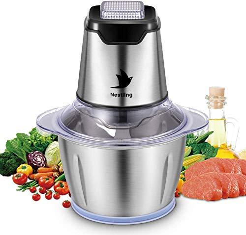 Nestling® Broyeur d'aliments électrique 500W, Hachoir à légumbot culinaire Broyeur à 4 lames tranchantes pour viande, Fruits et Noix avec 1.2L Bol en acier inoxydable de qualité alimentaire