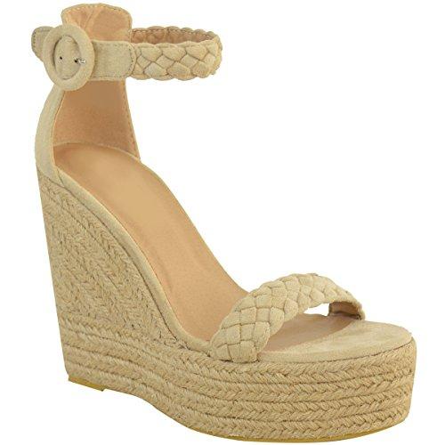 Damen Espadrille-Sandalen mit hohem Keilabsatz für den Sommer Cremefarben Veloursleder-Imitat