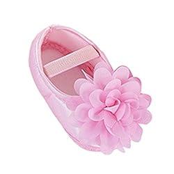 SOMESUN Neugeborenes Kleinkind Baby Mädchen Lauflernschuhe Kinder Prinzessin Niedlich Gemütlich Weich Stoff Blume Elastisch Band Wanderschuhe (0-6 Monate, Rosa)