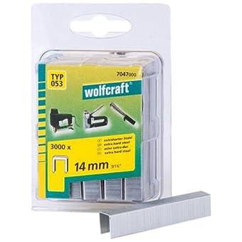 Wolfcraft 7047000 Lot de 3000 agrafes larges en acier extra dur Type 53 14 mm