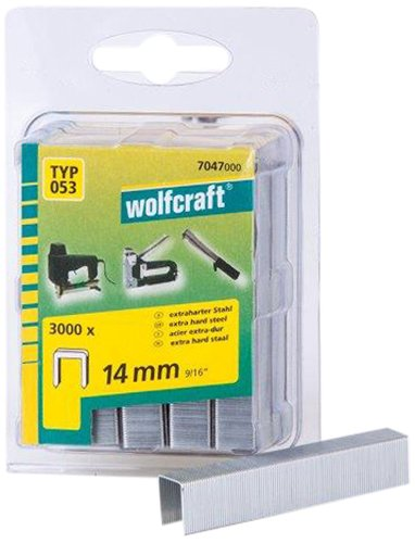 Wolfcraft 7047000 Lot de 3000 agrafes larges en acier extra dur Type 53 14 mm