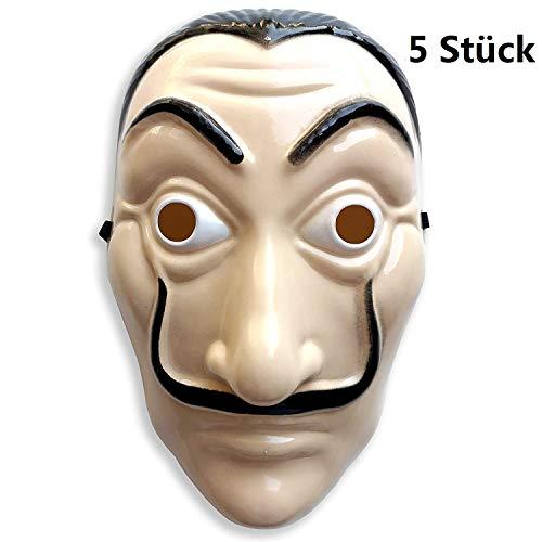Yigoo Dali Maske Salvador Haus des Geldes Plastikmasken Kostüm für Herren, Damen Erwachsene - Fasching, Karneval, Halloween (5 Stück Nicht Latex - Dame Spieler Kostüm