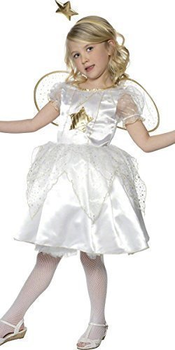 Star Fee Engel Gabriel Weihnachten Krippe Verkleidung Kostüm Outfit 4-12 Jahre - Weiß, 7-9 Years (Gold Fee Flügel Kostüm)
