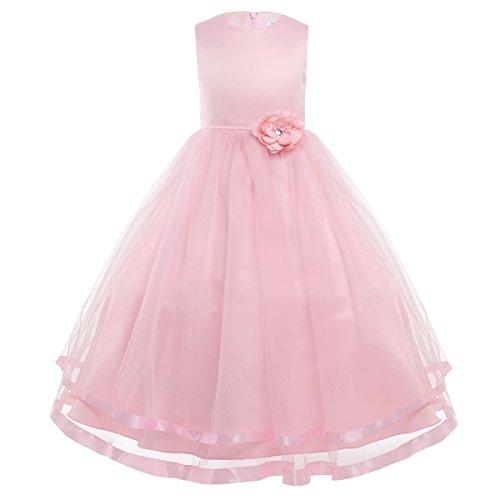 Freebily Kinderkleider festlich Mädchen Blumenmädchenkleid Hochzeit Party Prinzessin Kleid lang 92 104 110 116 122 128 134 140 146 152 158 164 Rosa 104/4 Jahre