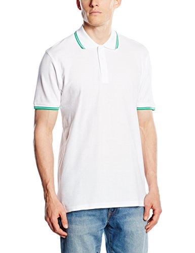 Fruit of the Loom Herren Poloshirt SS034M, White (White/Kelly Green), L (Kontrast Polo)