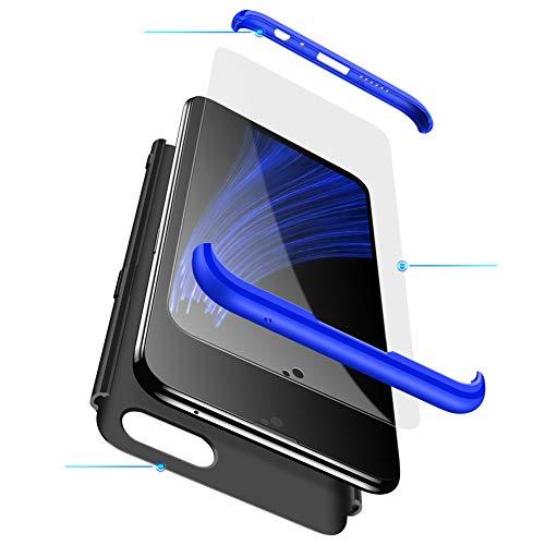 MEVIS Oppo F7 Hülle,360 Grad hülle Fullbody case+(1*Hartglas Glasfilm Schutzfolie) 3 in 1 Ultra dünner pc Hardcase Scratch und Shockproof-Blau schwarz