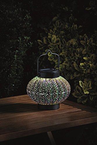LED Solar Laterne hängend oder stehend   wunder schöne 3 D Solar Leuchte mit tollem Hologramm Muster   aus massivem Glas und hochwertigem Edelstahl