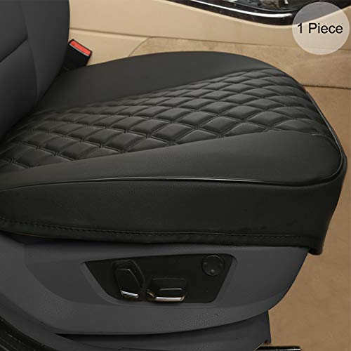 BLACK PANTHER PU Autositzbezüge,Umwickelkante,Schutz für Vordersitz unten Einzelsitz ohne Rückenlehne(W 21.26''*D 20.87