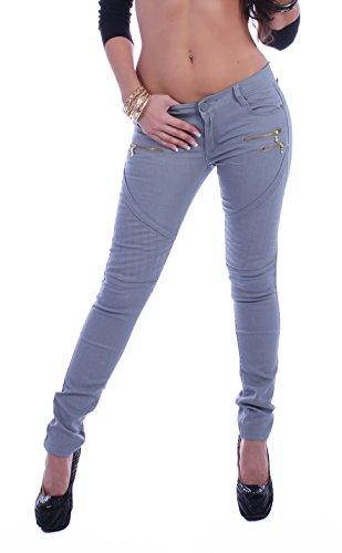 Style-Station24 Damen Jeanshosen Röhrenjeans Hüftjeans Skinny Jeans Hose mit Zipper in 6 Farben -
