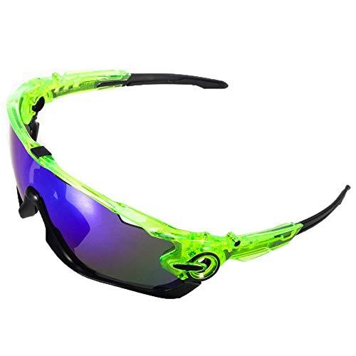 ACS1986 Polarisierte Sport-Sonnenbrille mit austauschbaren Lenes für Männer Frauen Radfahren Laufen Fahren Angeln Golf Baseball Brillen (4-Farben-Wechselobjektiv) (Schwarz und grün 1)