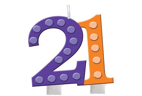 Unbekannt Creative Converting hell und Bold 21. Geburtstag geformt Ziffer Kuchen Kerze (Kuchen Geburtstag Dekorationen 21st)