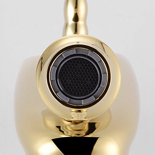 Homelody – Nostalgische Waschtisch-Einhebelarmatur, ohne Ablauf, Einhorndesign, Weiß-Gold-Diamant - 4