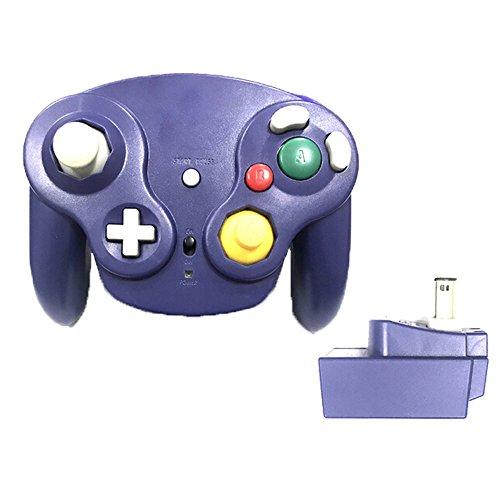 Poulep Classic 2,4 G Wireless Controller Gamepad mit Receiver Adapter für Wii U Gamecube NGC GC, Violett