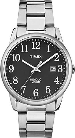 Timex - TW2R23400 - Montre - Quartz -Affichage - Analogique - Bracelet - Acier Inoxydable - Argent - Cadran - Noir - Hommes